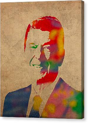 Ronald Reagan Watercolor Portrait On Worn Distressed Canvas Canvas Print by Design Turnpike