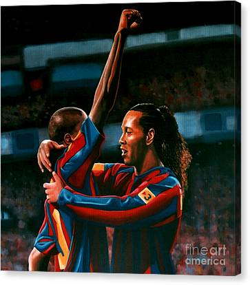 Ronaldinho And Eto'o Canvas Print by Paul Meijering