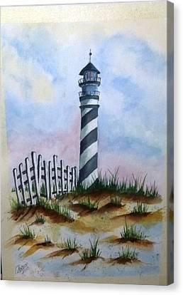 Canvas Print featuring the painting Ron's Lighthouse by Richard Benson