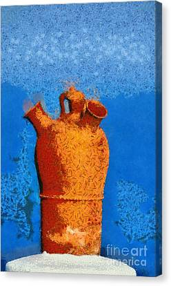 Roof Pottery In Sifnos Island Canvas Print by George Atsametakis