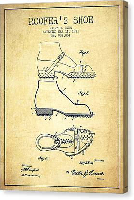 Roofers Shoe Patent From 1911 - Vintage Canvas Print