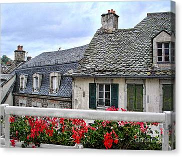 Roofs In The Cantal Auvergne France Canvas Print by Menega Sabidussi