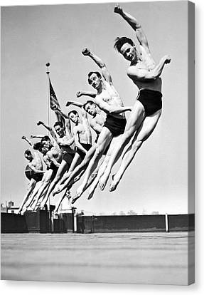 Rooftop Dancers In New York Canvas Print by -