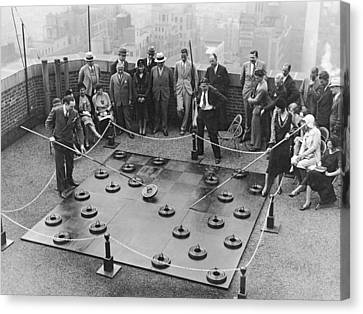 Rooftop Giant Checkers Game Canvas Print by Underwood Archives