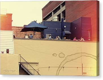 Rooftop Lunch Canvas Print by Paulette B Wright