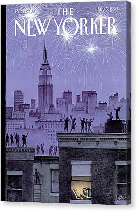 Fireworks Canvas Print - Rooftop Revelers Celebrate New Year's Eve by Harry Bliss