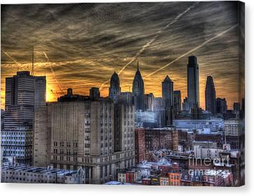 Rooftop Sunset Philadelphia Canvas Print by Mark Ayzenberg