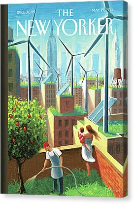 Wind Turbines Canvas Print - Rooftop Urban Gardening In New York by Eric Drooker