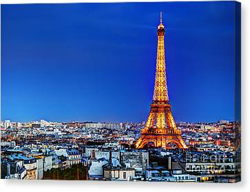 Rooftop View On The Eiffel Tower Canvas Print by Michal Bednarek