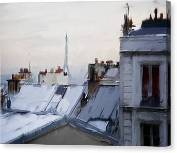 Rooftops Of Paris Canvas Print by H James Hoff