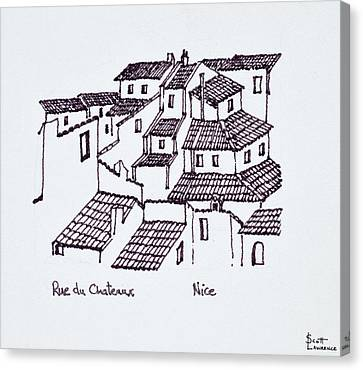 Rooftops Of The Old City Along Rue De Canvas Print