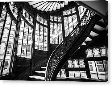 Rookery Building Winding Staircase And Windows - Black And White Canvas Print