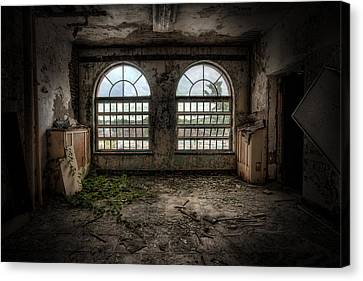 Room With Two Arched Windows Canvas Print by Gary Heller