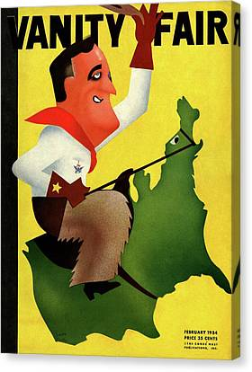Political Allegory Canvas Print - Roosevelt Riding The U.s by Leon Carlin