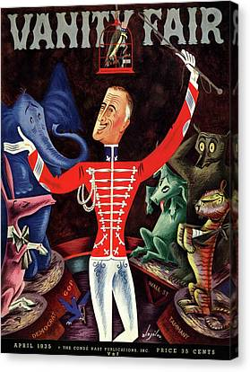 Political Allegory Canvas Print - Roosevelt The Ringleader by Constantin Alajalov