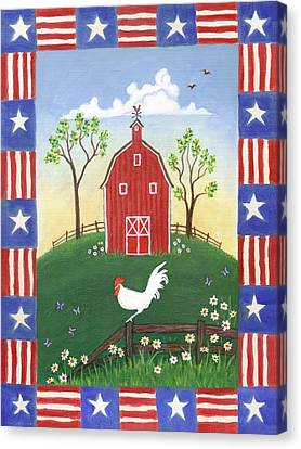 Fourth Of July Canvas Print - Rooster Americana by Linda Mears