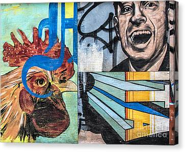 Rooster And Man Graffiti Canvas Print