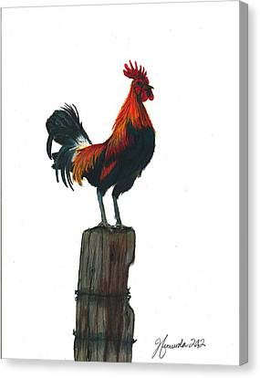 Rooster Beyond The Morning Canvas Print