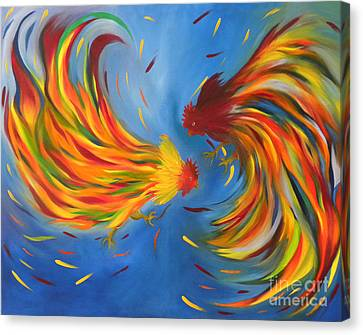 Canvas Print featuring the painting Rooster Fight by Fanny Diaz