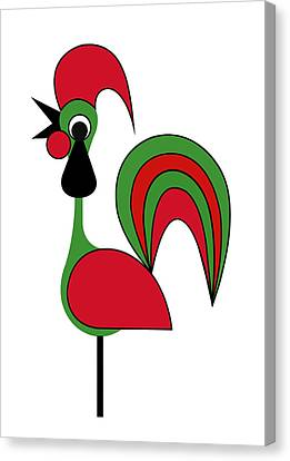 Rooster From Porto Canvas Print by Asbjorn Lonvig