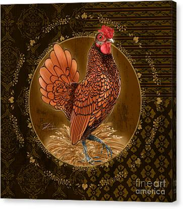 Rooster Golden Canvas Print by Shari Warren