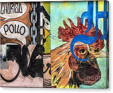 Canvas Print featuring the mixed media Rooster Graffiti by Terry Rowe