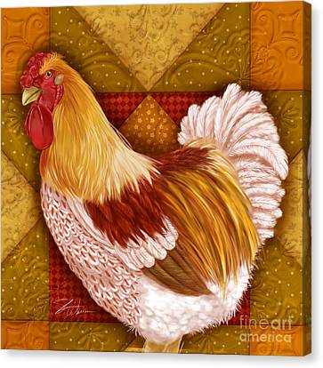 Rooster On A Quilt I Canvas Print