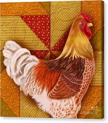 Rooster On A Quilt II Canvas Print