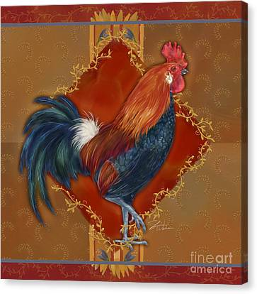 Rooster On Red And Gold II Canvas Print by Shari Warren