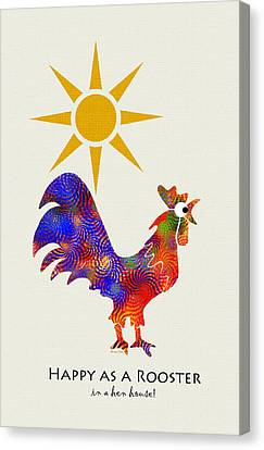 Rooster Pattern Art Canvas Print by Christina Rollo