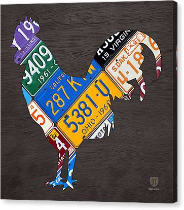 Rooster Recycled License Plate Art On Gray Wood Canvas Print