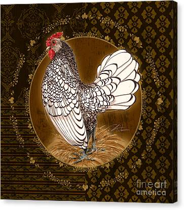 Rooster Silver Canvas Print by Shari Warren