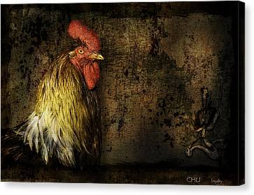 Canvas Print featuring the mixed media Rooster With Brush Calligraphy Loyalty by Peter v Quenter
