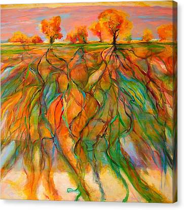 Canvas Print featuring the painting Roots by Mary Schiros