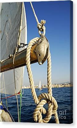 Rope On Sailboat Mast During Navigation Canvas Print by Sami Sarkis