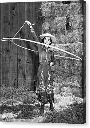 Bales Canvas Print - Rope Spinning Actress by Underwood Archives