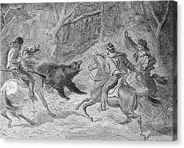 Roping A Grizzly, Illustration From Harpers Weekly, 1874, From The Pageant Of America, Vol.3 Canvas Print