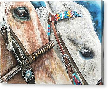 Roping Horses Canvas Print by Nadi Spencer