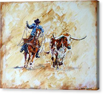 Roping The Doggie Canvas Print by P Maure Bausch