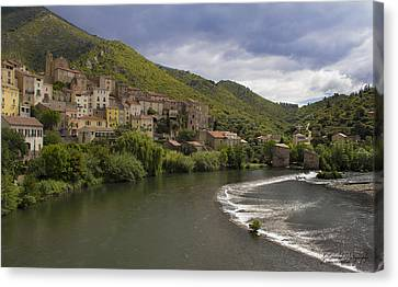 Roquebrun Village Canvas Print by Karissa Leonard