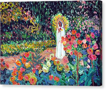 Rosa Mistica In Monet's Garden Canvas Print