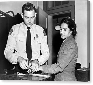 Rosa Parks Gets Fingerprinted Canvas Print