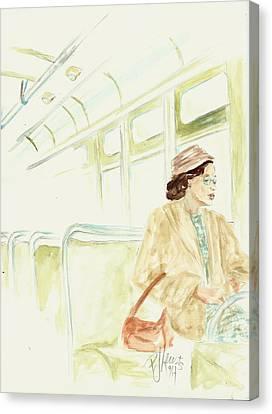 Rosa Parks Rides Canvas Print