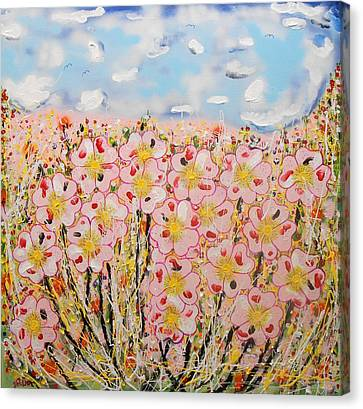 Rosa Ruby Flower Garden Canvas Print