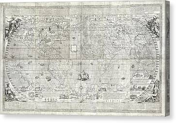 Rosaccio World Map Canvas Print by Library Of Congress, Geography And Map Division