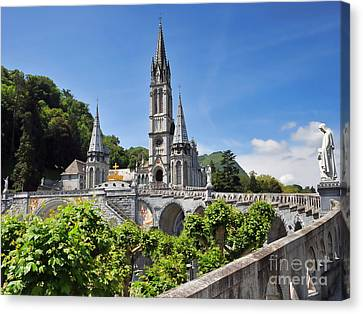 Rosary Basilica In Lourdes France Canvas Print by Graham Taylor