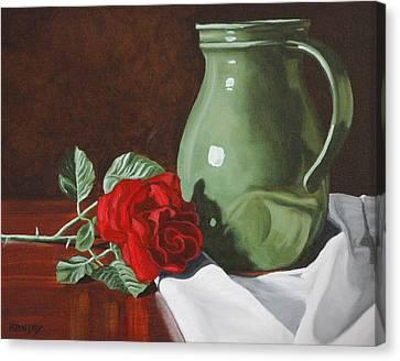 Rose And Green Jug Still Life Canvas Print by Daniel Kansky