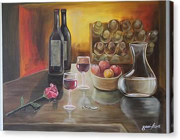 Rose And Wine Canvas Print by Gani Banacia