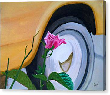 Rose At The Curb Canvas Print by Hilda and Jose Garrancho