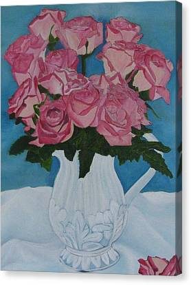 Canvas Print featuring the photograph Rose Bouquet In A Pitcher by Margaret Newcomb